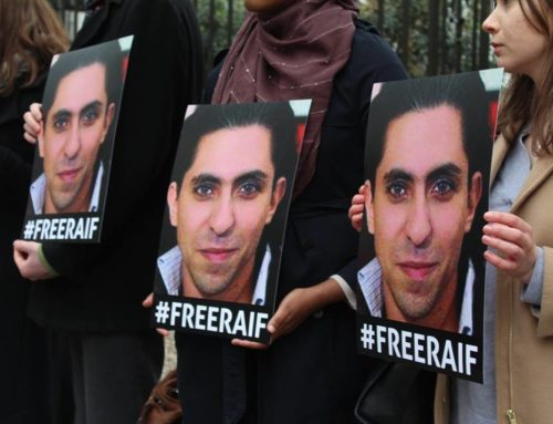 Ensaf Haidar joins London vigil for her husband, blogger Raif Badawi