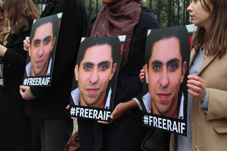 Ensaf Haidar joins London vigil for her husband, blogger Raif Badawi